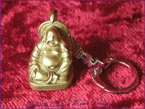 FENG SHUI Laughing Buddha of Prosperity Key Ring GOLD (A)