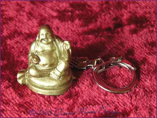 FENG SHUI Laughing Buddha of Prosperity Key Ring GOLD (D)