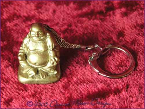 FENG SHUI Laughing Buddha of Prosperity Key Ring GOLD (F)
