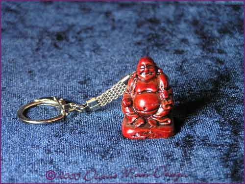 FENG SHUI Laughing Buddha of Prosperity Key Ring RED (A)