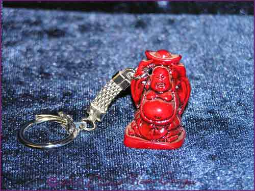 FENG SHUI Laughing Buddha of Prosperity Key Ring RED (B)