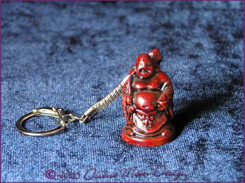 FENG SHUI Laughing Buddha of Prosperity Key Ring RED (C)