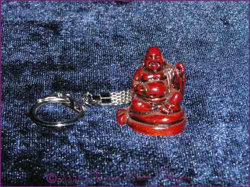 FENG SHUI Laughing Buddha of Prosperity Key Ring RED (D)
