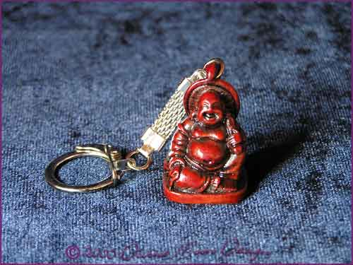 FENG SHUI Laughing Buddha of Prosperity Key Ring RED (F)