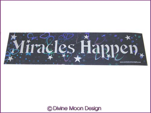 BUMPER STICKER � Holographic (6B) Blue � MIRACLES HAPPEN