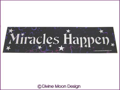 BUMPER STICKER � Holographic (6A) Purple � MIRACLES HAPPEN