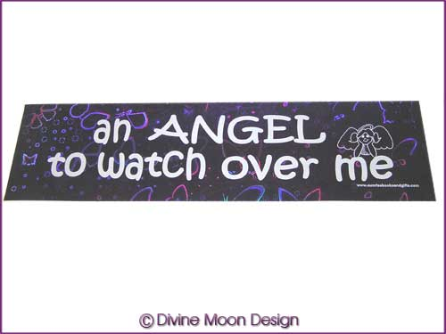 BUMPER STICKER � Holographic (14A) Purple � ANGEL TO WATCH OVER