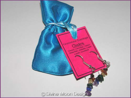 Crystal Gemstone CHAKRA Healing Earrings + Satin Bag (A)