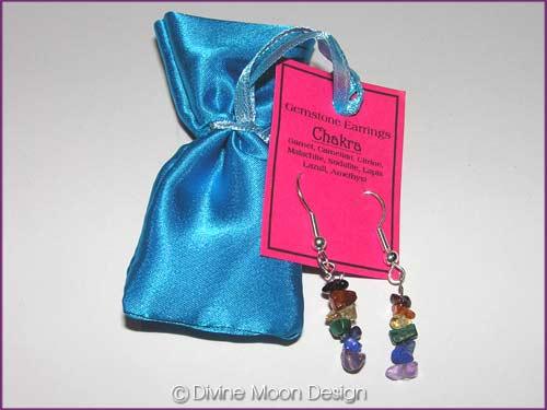 Crystal Gemstone CHAKRA Healing Earrings + Satin Bag (B