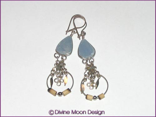Peruvian Alpaca Silver Crystal EARRINGS BR5A) - Celestite - Click Image to Close