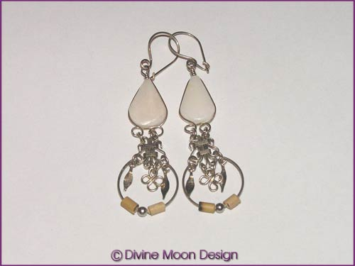 Peruvian Alpaca Silver Crystal EARRINGS BR1A) - White Agate