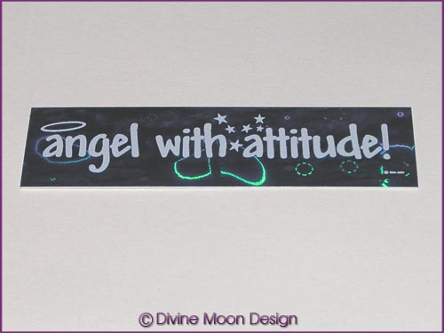 Holographic Sticker (3B) Blue MINI - 'Angel with Attitude'