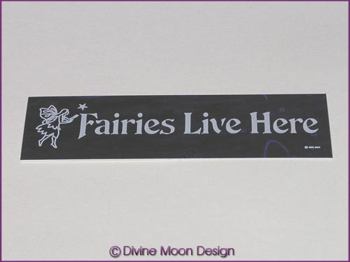 Holographic Sticker (2A) Purple MINI - 'Fairies Live Here'