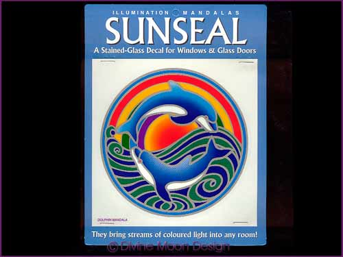 SUNSEAL Glass Decal / Sticker for Windows - DOLPHIN MANDALA